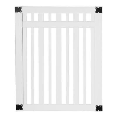 Pro Series 4 ft. W x 5 ft. H White Vinyl Lafayette Spaced Picket Fence Gate