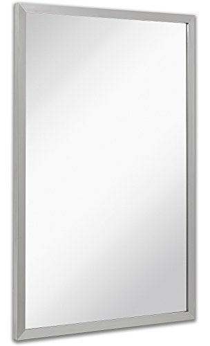 Commercial Restroom Rectangular Wall Mirror | Contemporary Industrial Strength | Brushed Metal Silver Rectangle Mirrored Glass | Vanity, Bedroom or Restroom Horizontal & Vertical (24