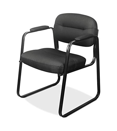 - HON BSXVL653SB11 Sled Base Guest Leather Chair with Fixed Arms, Black (HVL653)