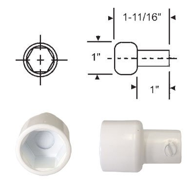 Replacement Hex Ball Adaptor for Skylight and Awning Window Operators, White (Skylight Operator)