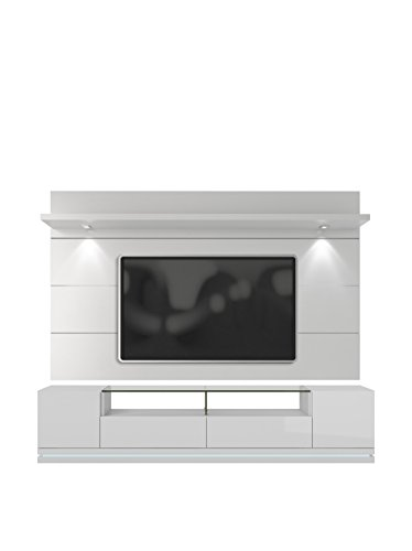 2-Pc Theater Center in White Gloss Finish