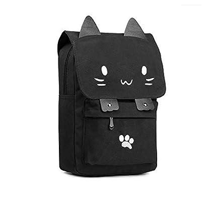 WSZMD Business Laptop Backpack Notebook Rucksack Gato Lindo dibujos animados Mochila de lona Bordado mochilas para