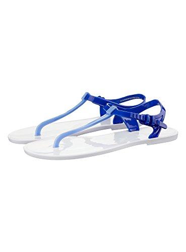 oodji Ultra Damen Kontrastfarbige Sandalen für Den Strand, Weiß, 39 EU/6 UK