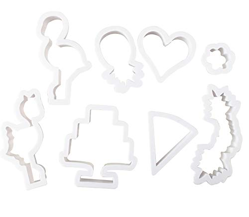 Cookie Biscuit Cutter 8pcs/set, Quality Pastry Cutters - Nesting Plastic Ring Cookie Cutting Set Molds for Mousse, Dough, Chocolate, Fondant, Donut and Muffins (Flamingo)