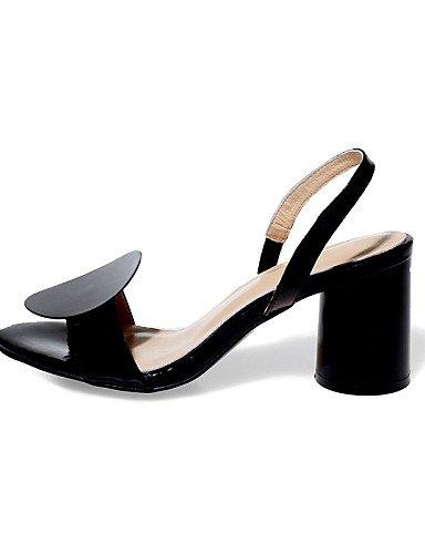 LFNLYX Zapatos de mujer-Tacón Robusto-Tacones / Punta Abierta / Talón Descubierto-Sandalias-Vestido / Casual / Fiesta y Noche-Cuero-Negro / Black