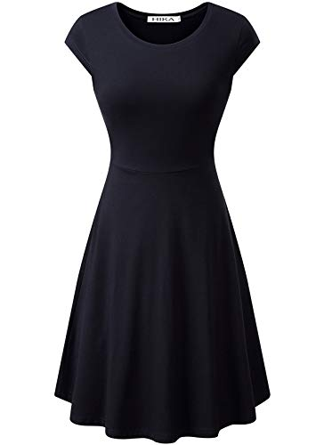 HIKA Women's Casual Cap Sleeve Round Neck Flared A-line Midi Dress Small Black