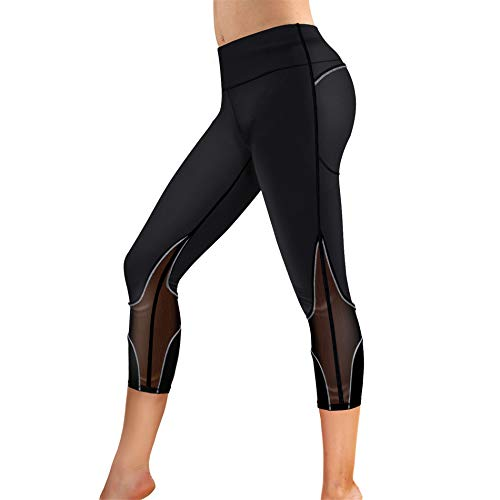 Rolewpy Women's Yoga Pants Tummy Control High Waist Gym Workout Running Leggings with Pockets (Black Sports Pants, XXX-Large)