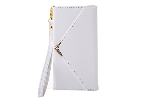 Leather Wallet Phone Protective Case iPhone 8 Plus,Gostyle iPhone 7 Plus Premium Vintage White Flip Case Envelope Women Purse Handbag Magnetic Cover with Card Holder Wrist Strap and Photo Frame Flip White Ring