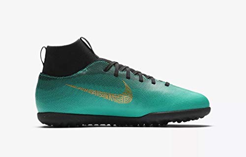 Nike Junior Superfly 6 Club CR7 TF Football Boots AJ3088 Soccer Cleats (UK 3 US 3.5Y EU 35.5, Clear Jade Vivid Gold 390)