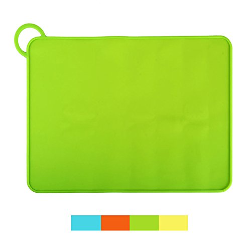 MARZE Silicone Dog Cat Mat, Feeding Bowl Tray, Waterproof Anti-Mess Anti-Slip with Hanging Ring Food Grade Placemat