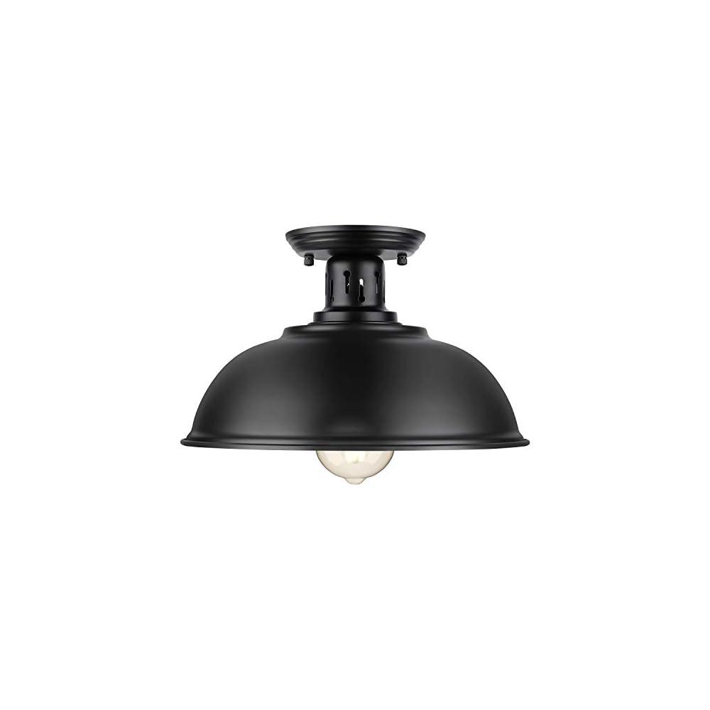 Farmhouse Semi Flush Mount Ceiling Light Fixture, E26 Base, Industrial Black Pendant Lamp Shade, Vintage Close to…