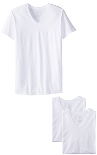 V-neck Undershirts Mens T-shirts Cotton (Fruit of the Loom Men'sV-Neck T-Shirt, White, Large(Pack of 3))