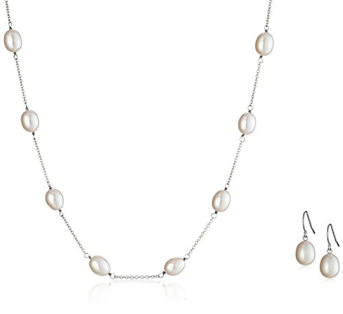 Honora White Freshwater Cultured Pearl Tin Cup Necklace and Earrings (Honora Set Necklace)