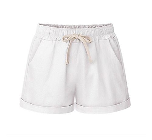 Taglie Chic Pantaloncini Con Lino Forti BoBoLily Donna Bianco Baggy Estivi Corti Tasca Pantaloni Unique Shorts IxPSwR7Fq