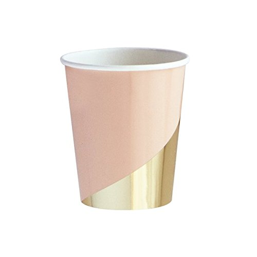 Harlow & Grey Goddess Peach Blush Pink with Gold Paper Cups, Pack of 24 - Birthday, Wedding, Showers Party Disposable Cups