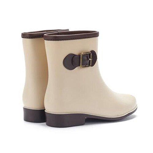 Minetom Mujer Casual Moda Botines De Lluvia Festival Botas De Agua Muy Ligera Impermeable Anti-deslizante Arco Zapatos Rain Boot Albaricoque