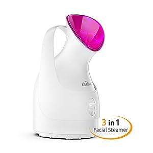 Kealive Facial Steamer, Portable Face Steamer Precise Temp Control, Hot Mist Humidifier, Unclogs Pores, Spa Quality for Facial Treatment