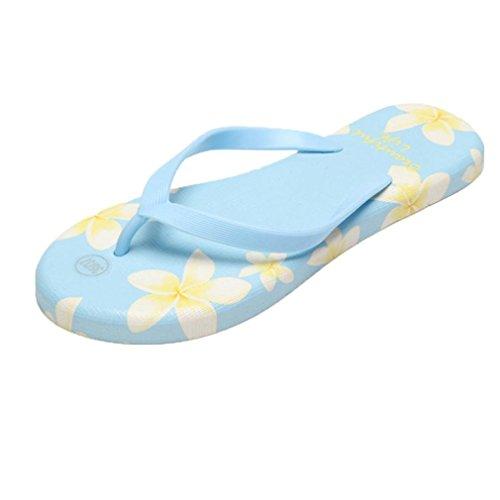 Sandalias para Mujer, RETUROM Verano mujeres flip-flops flor impresa zapatos de playa de arena Azul