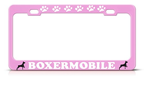 (Boxer Mobile Heavy Duty Metal Pink License Plate Frame Dog Lover Tag Border Perfect for Men Women Car garadge Decor)