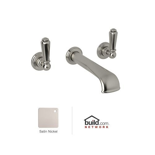 Rohl U.3560L-STN-2 Perrin & Rowe Edwardian Low Level Spout Wall Mounted Three Hole Widespread Lavatory Faucet Set with Levers (Includes Both), Satin Nickel ()