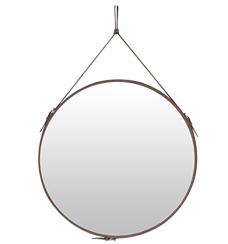 HofferRuffer Round Wall Mirror Decorative Mirror, Hanging Mirror with Hanging Strap Silver -
