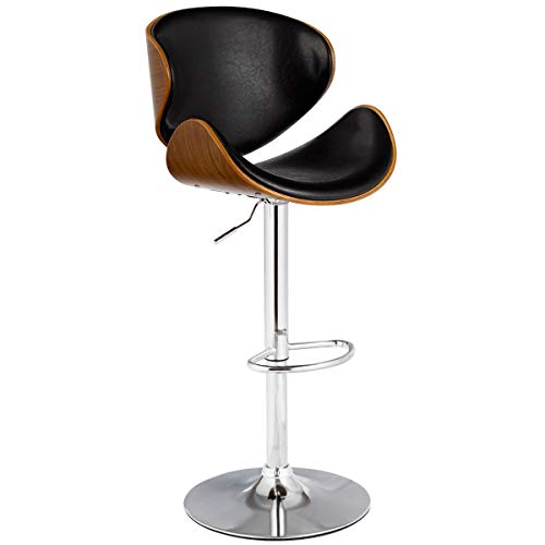 COSTWAY Bar Stool Adjustable Height Swivel Walnut Bentwood PU Leather Home Bar Stool with Curved Black Vinyl Seat and Back (1)