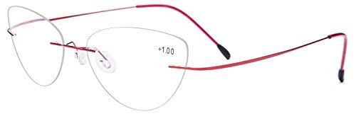 FONEX Rimless Reading Glasses Frame for Women with Cat Eye Hyperopia Lens LH011 (Red, - Korean Glasses Online