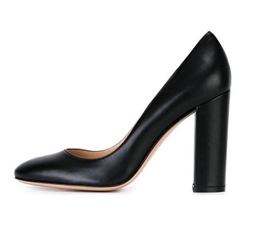 Sammitop Women's Round Toe Block Heel Pumps Slip-on Classic Black Dress Shoes US10.5