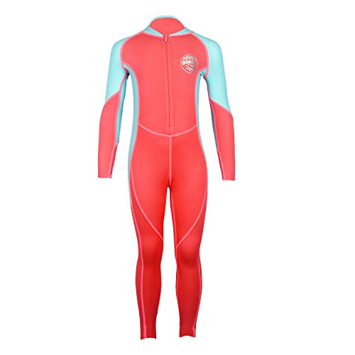 Scubadonkey 0.5 mm Lycra Full Body Quick Dry Wetsuit for Girls | UPF 50+ UV Protection | for Scuba Diving Surfing Fishing Kayaking Swimming (Coral/Sky Blue, 8)