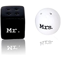 Ouken Round Cube Ceramic Mr. and Mrs. Salt Pepper Shakers Canister Set Wedding Party Favors