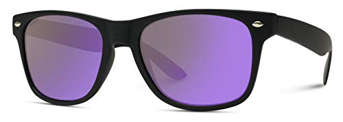 Premium Square Style Mirrored Lens Sunglasses (Black Frame/Flashing Purple Lens, 53)