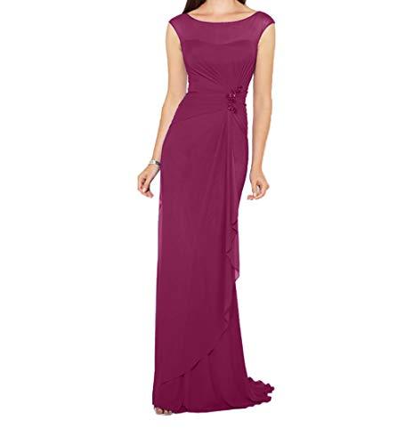 Einfach Brautmutterkleider Abendkleider Lang Fuchsia Charmant Chiffon Etuikleider Dunkel Brautjungfernkleider Damen CwXxtqta5