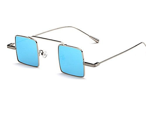 Hero Retro vintage small square box sunglasses reflective sunglasses super models explosive personality unisex (Silver color, Blue - Oval Of Face Glasses Type For
