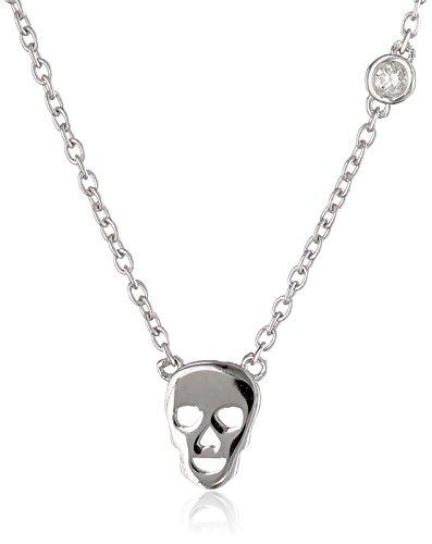 Syd by SE Skull Necklace with Diamond Bezel