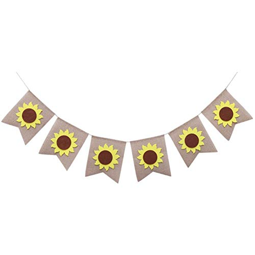 Mei Yun Sunflower Artwork Banner Bunting Garland Flag Sign for Home Family Party Decoration Halloween Party Decoration