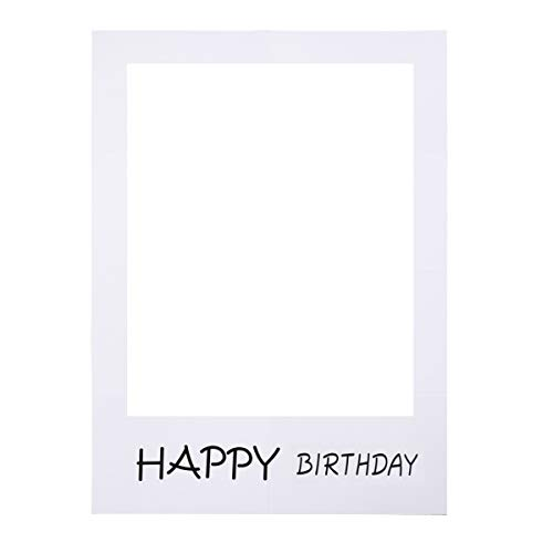 LUOEM Happy Birthday Party Frame Photo Prop Birthday DIY Paper Picture Frame Cutouts Photo Booth Props for Birthday Party Supply