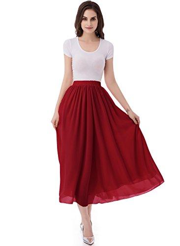 emondora Women's Chiffon Long A-Line Retro Skirts Pleated Beach Maxi Skirt Dark Red Size S -