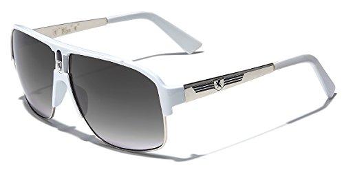 White Mens Sunglasses - KHAN Men's Sport Sunglasses Fashion Aviators Retro Classic Shades, Silver - White, one size fits most