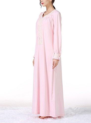 Lce US Pink Sleeve Tag Sleepwear Vintage Pleated Pregnant L Dress Long L Floor Nightgown qXvnxzt