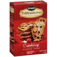 4.4 Ounce Case Pack (Thin Addictives Cranberry Almond Thins, 4.4 Ounce - 6 per pack -- 6 packs per case. by Nonni's)