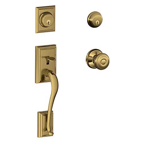 - Schlage F62-ADD-GEO Addison Double Cylinder Handleset with Georgian Interior Kno, Antique Brass