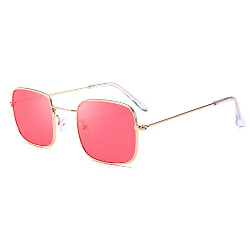 Hukai Men Women Vintage Square Sunglasses Protection Goggles Colored Lens Glasses - Lens Sunglass Contact
