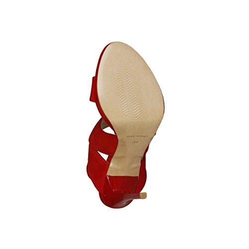 V 1969 - IRMINE_ROSSO Donna Sandali Della Caviglia Cinghia Tacco 11.5 cm, Altopiano 1 cm