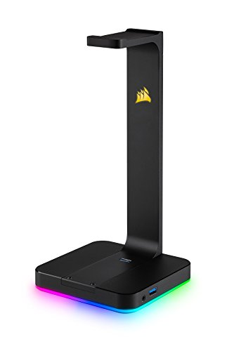 CORSAIR ST100 RGB – Premium RGB Gaming Headset Stand with 7.1 Surround Sound Headphone Audio  – 3.5mm jack and 2x USB 3.1 ports