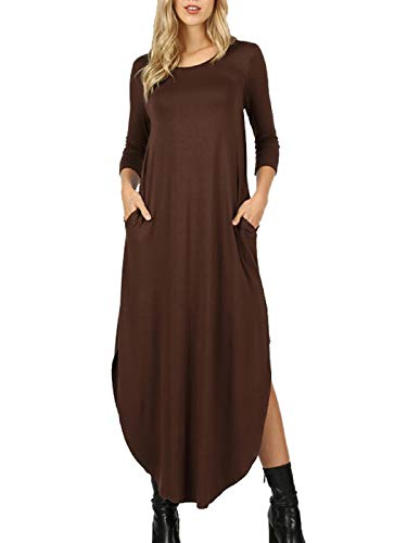 MixMatchy Women's 3/4 Sleeve Side Slit Long Maxi Dresses Brown XL