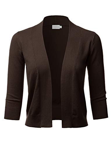 LALABEE Women's Classic 3/4 Sleeve Open Front Cropped Bolero Cardigan-Brown-XL ()