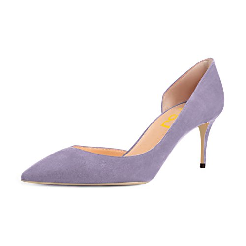 FSJ Women Basic Slip On D'Orsay Pumps Heels Pointed Toe Faux Suede Office Dress Shoes Size 8.5 (Lavender Dress Shoes)