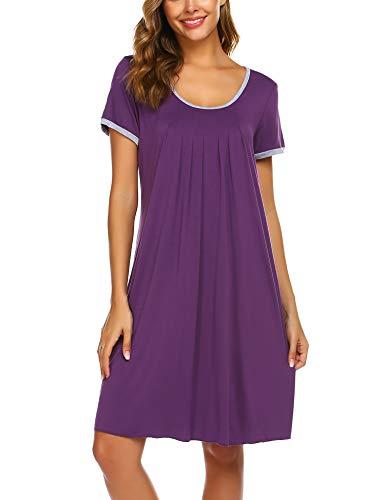 (Ekouaer Sleepwear Womens Nightgown Short Sleeve Sleep Nightdress Scoopneck Sleep Tee Nightshirt Purple M)