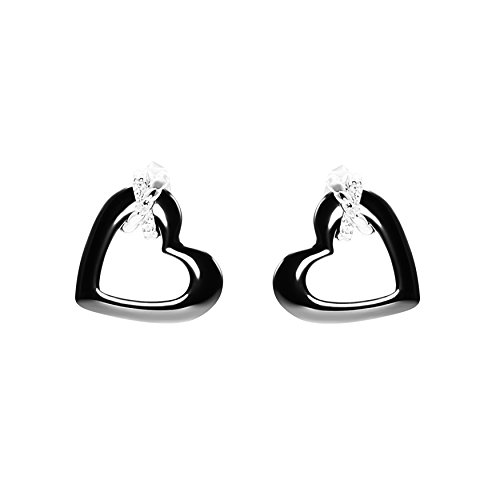 Stella Maris Boucles D'Oreilles Femme Argent 925 Diamant Zircon Cœur Céramique Noir - STMJ6-179b