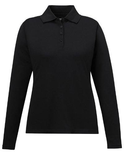 Long Shirt Sleeve Core (Ash City - Core 365 Performance Long Sleeve Pique Polos 78192 -BLACK 703 S)